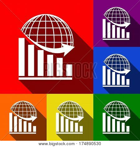 Declining graph with earth. Vector. Set of icons with flat shadows at red, orange, yellow, green, blue and violet background.