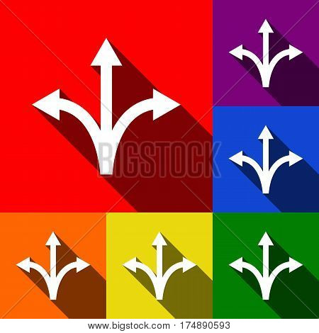 Three-way direction arrow sign. Vector. Set of icons with flat shadows at red, orange, yellow, green, blue and violet background.