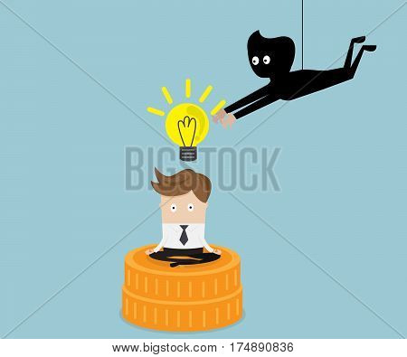 thief stealing idea from businessman business concept vector illustration