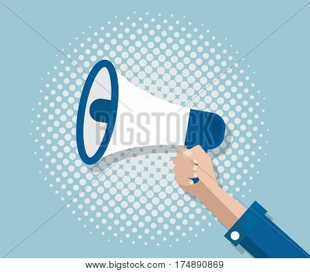 hand with mega phone and half tone background vector illustration