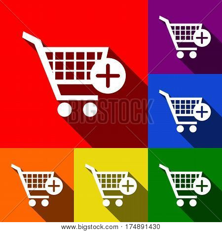 Shopping Cart with add Mark sign. Vector. Set of icons with flat shadows at red, orange, yellow, green, blue and violet background.