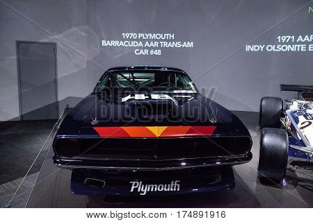 Los Angeles CA USA -- March 4 2017: Black 1970 Plymouth Barracuda AAR Trans-Am car number 48 at the Petersen Automotive Museum in Los Angeles California United States. Editorial only.