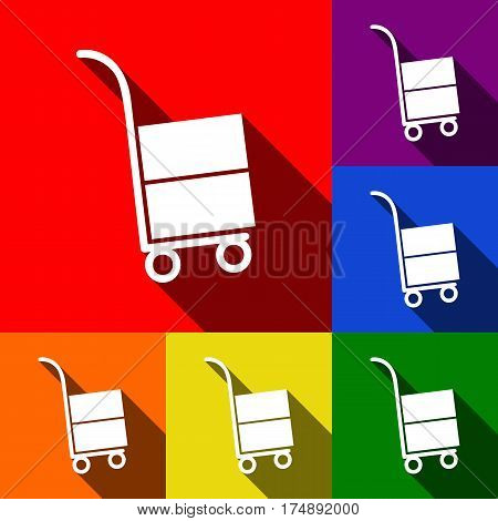 Hand truck sign. Vector. Set of icons with flat shadows at red, orange, yellow, green, blue and violet background.
