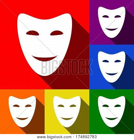 Comedy theatrical masks. Vector. Set of icons with flat shadows at red, orange, yellow, green, blue and violet background.