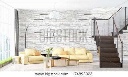 Beautiful modern living room interior with stairway. 3D rendering
