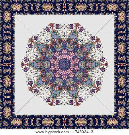 Tablecloth with flower - mandala and beautiful ornamental border. Blanket. Pillowcase.