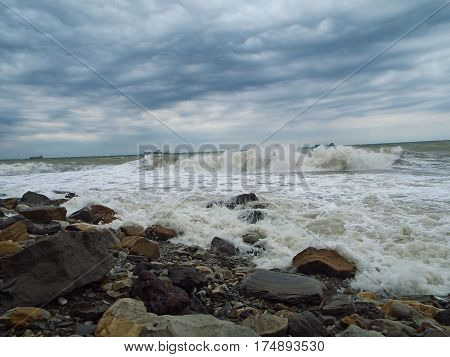 The West wind lifted the Black sea a violent storm