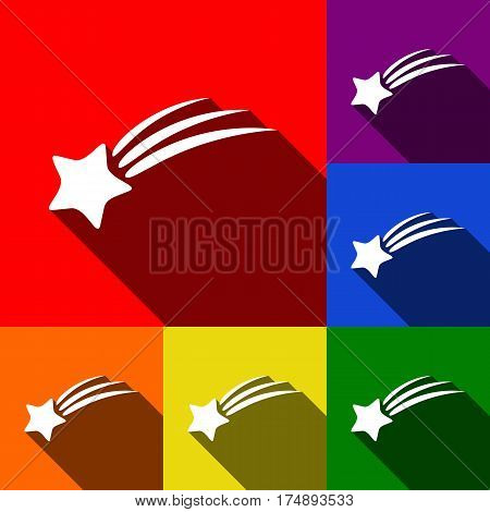 Shooting star sign. Vector. Set of icons with flat shadows at red, orange, yellow, green, blue and violet background.