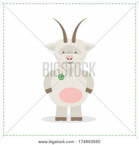 Plush toy goat printed sewn toy. Vector illustration