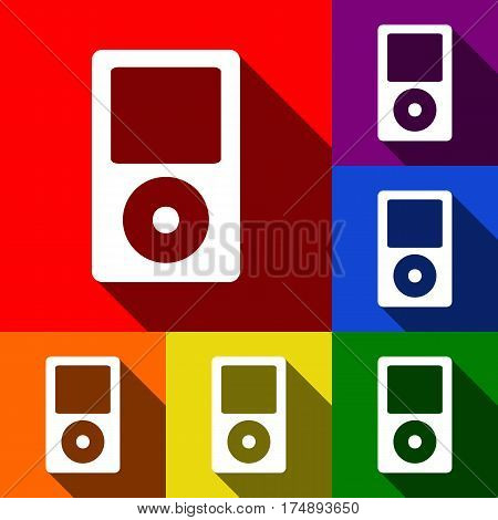 Portable music device. Vector. Set of icons with flat shadows at red, orange, yellow, green, blue and violet background.