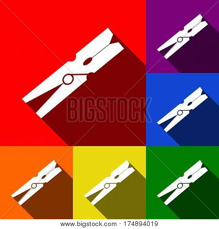 Clothes peg sign. Vector. Set of icons with flat shadows at red, orange, yellow, green, blue and violet background.