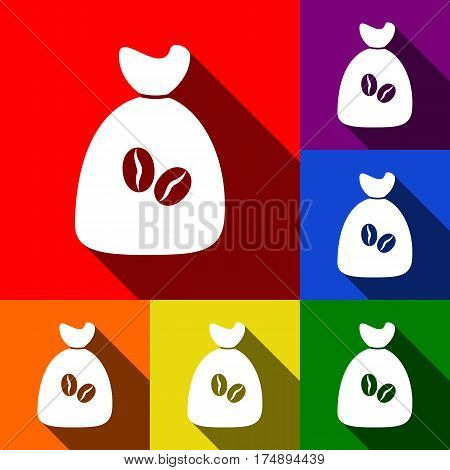 Coffee bag Icon. Coffee bag Vector. Coffee bag Icon Button. Vector. Set of icons with flat shadows at red, orange, yellow, green, blue and violet background.
