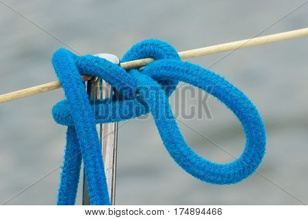 Yachting, Blue Rope On Sailboat, Details Of Yacht, Sea Background