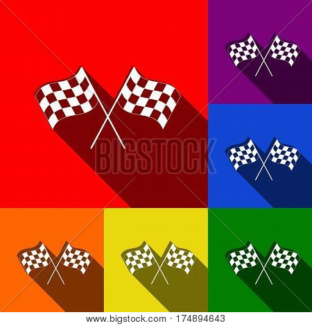 Crossed checkered flags logo waving in the wind conceptual of motor sport. Vector. Set of icons with flat shadows at red, orange, yellow, green, blue and violet background.