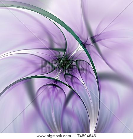 Abstract Exotic Flower. Psychedelic Asymmetrical Design In Violet, Dark Green And Black Colors. Fant