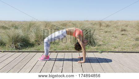 Woman in bridge position