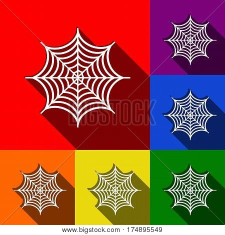 Spider on web illustration. Vector. Set of icons with flat shadows at red, orange, yellow, green, blue and violet background.