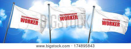 telecommunications, 3D rendering, triple flags