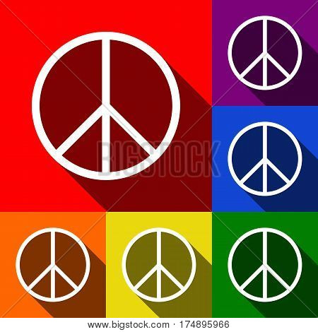 Peace sign illustration. Vector. Set of icons with flat shadows at red, orange, yellow, green, blue and violet background.