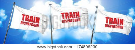 train dispatcher, 3D rendering, triple flags