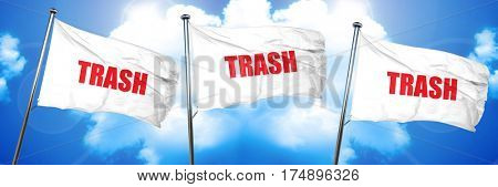 trash, 3D rendering, triple flags