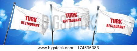 Delicious turkish cuisine, 3D rendering, triple flags
