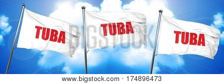 tuba, 3D rendering, triple flags
