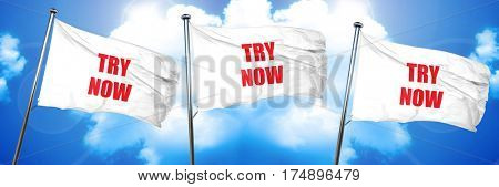 try now sign, 3D rendering, triple flags