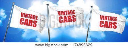 vintage cars, 3D rendering, triple flags