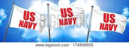 us navy, 3D rendering, triple flags