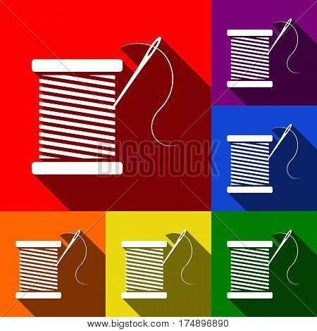 Thread with needle sign illustration. Vector. Set of icons with flat shadows at red, orange, yellow, green, blue and violet background.