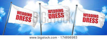 wedding dress, 3D rendering, triple flags