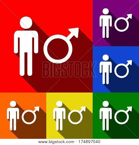 Male sign illustration. Vector. Set of icons with flat shadows at red, orange, yellow, green, blue and violet background.