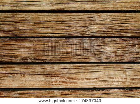 Rustic wood background. Natural wood texture with horizontal lines. Wooden background for banner. Timber texture closeup. Horizontal wooden planks of floor backdrop photo. Natural material for banner