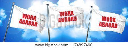 work abroad, 3D rendering, triple flags