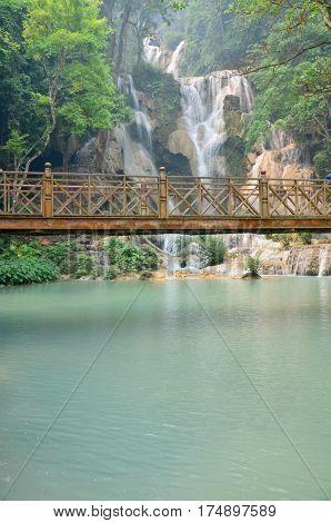 Kuang Si Falls Or Tat Kuang Si Waterfalls In Luang Prabang, Laos