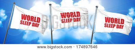 world sleep day, 3D rendering, triple flags
