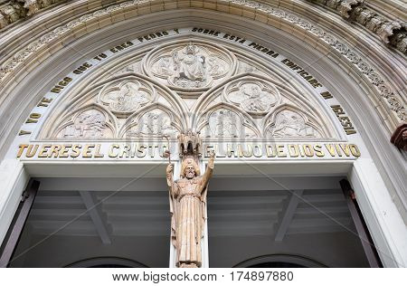 GUAYAQUIL ECUADOR - FEBRUARY 15 2017: Guayaquil Metropolitan Cathedral detail. Officially the Cathedral of Saint Peter was constructed in a neo-Gothic style between 1924 and 1937