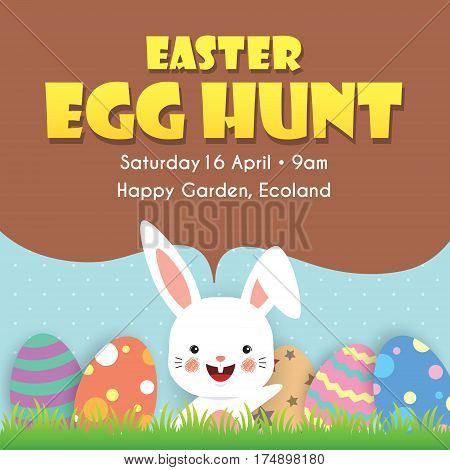 Easter egg hunt poster template design. Easter eggs on the meadow with cartoon bunny and blue sky as background.