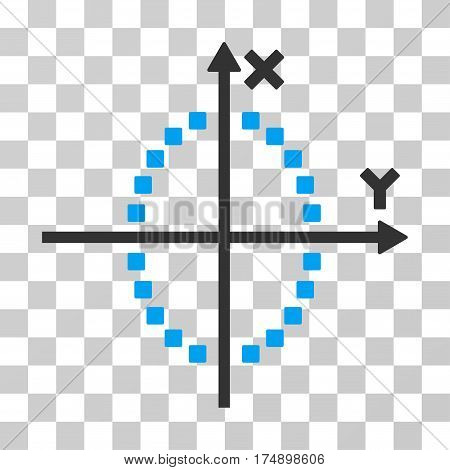 Ellipse Plot icon. Vector illustration style is flat iconic bicolor symbol blue and gray colors transparent background. Designed for web and software interfaces.