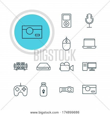 Vector Illustration Of 12 Hardware Icons. Editable Pack Of Cursor Controller, Loudspeaker, Joypad And Other Elements.