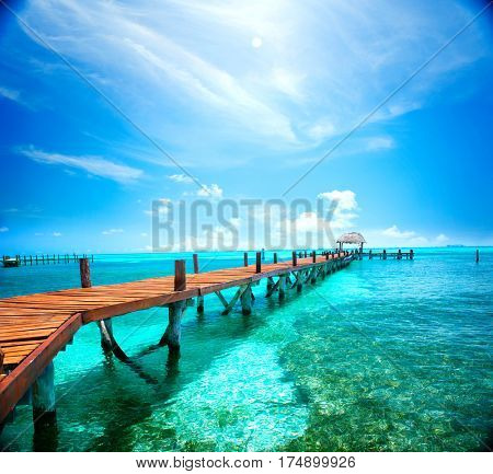 Exotic Beach, Paradise. Travel, Tourism and Vacations Concept. Landscape of Tropical Resort. Jetty near Cancun, Mexico, Isla Mujeres