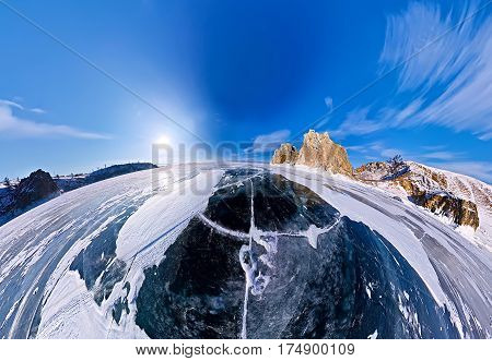 Shaman Cape On Olkhon Island, Baikal, Fish-eye Aerial