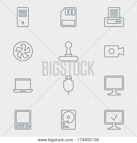 Vector Illustration Of 12 Notebook Icons. Editable Pack Of Serial Bus, Cooler, Pda And Other Elements.