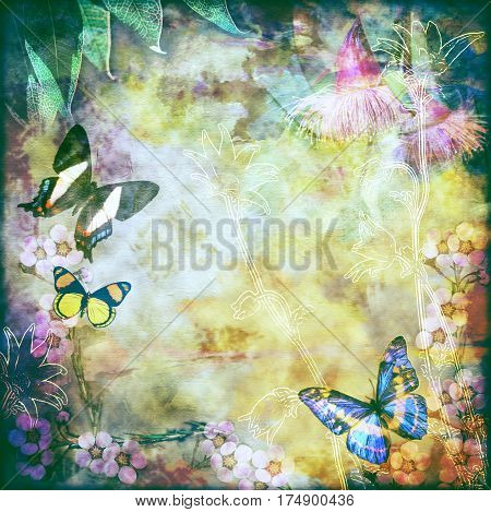 Vintage floral background with Australian butterflies. Photo montage on colourful aged canvas textured background. Copy space for text.