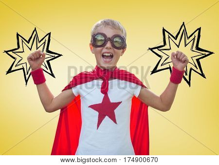Digital composition of boy in superhero costume showing fists against yellow background