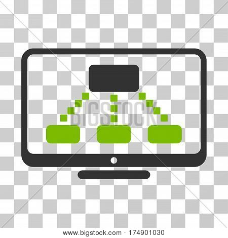 Hierarchy Monitor icon. Vector illustration style is flat iconic bicolor symbol eco green and gray colors transparent background. Designed for web and software interfaces.