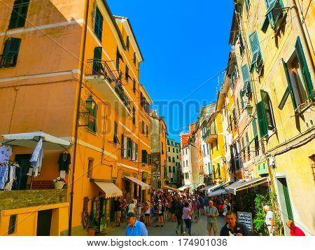 Vernazza, Italy - September 09, 2015: Central street of Vernazza. Vernazza is a town and comune located in the province of La Spezia, Liguria, northwestern Italy.