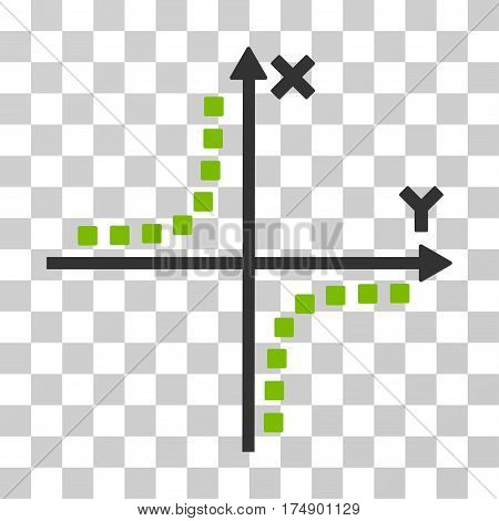 Hyperbola Plot icon. Vector illustration style is flat iconic bicolor symbol eco green and gray colors transparent background. Designed for web and software interfaces.