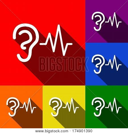 Ear hearing sound sign. Vector. Set of icons with flat shadows at red, orange, yellow, green, blue and violet background.